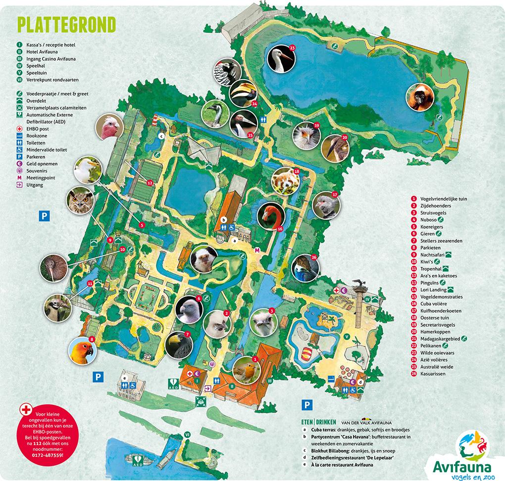 Plattegrond Vogelpark Avifauna