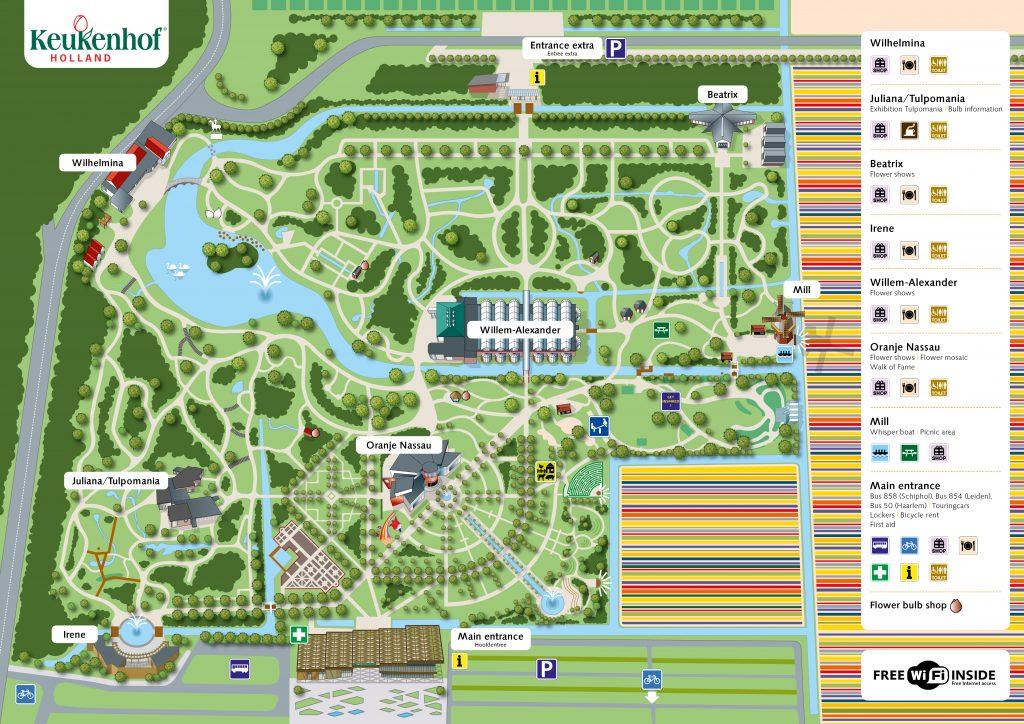 De plattegrond van Keukenhof 2021